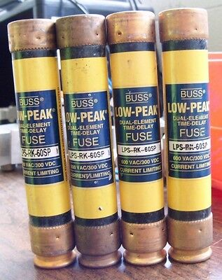 Bussman Lot Of 4 Low Peak Dual Element Time Delay Fuses Lps-Rk-60Sp