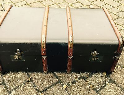 Victorian Large Size Wood And Brass Bound Ship Travelling Trunk.