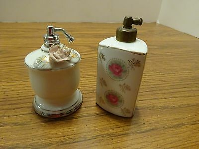 2 Vintage PERFUME SPRAYERS, Atomizers 1 has CHASE, Japan on Bottom