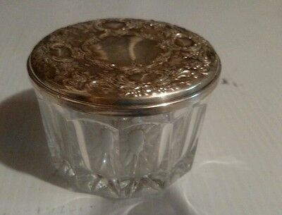 Antique Sterling silver crystal powder jar  with mirror flowers repousse
