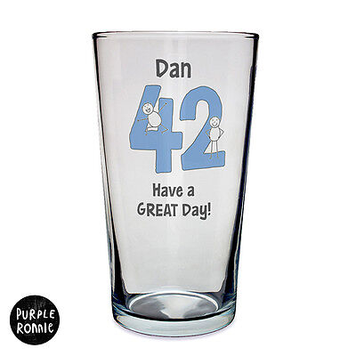 PERSONALISED BIRTHDAY  BEER PINT GLASS 18th 21st 40th funky gift idea ANY TEXT