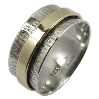 925 Solid Sterling Silver TWOTONE Golden Hammered Spinner 9mm Band Ring All Size