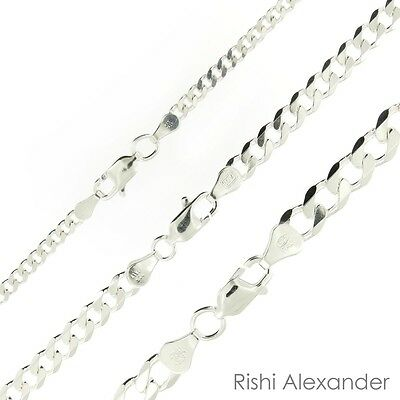 925 Sterling Silver Curb Cuban Mens Womens Chain Necklace .925 Italy All Sizes