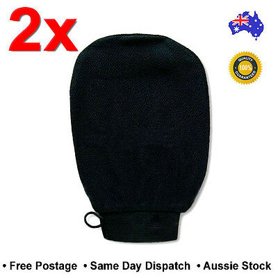 2x Black Moroccan Exfoliating Glove Mitt Tan Removal Magic Beauty Skin Peeling