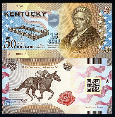 USA States, Kentucky, $50, Polymer, ND (2015), P-N/L, UNC Daniel Boone