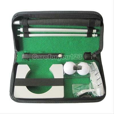 Portable Indoor Golf Putting Training Set Executive Practice Kit Putter Cup+Case