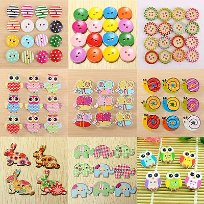 Colorful Mix Wood Wooden Button 2/4 Holes Sewing Scrapbook Craft DIY
