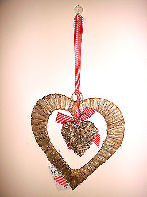 New Rustic Wicker Willow Wall Hanging Double Heart Shabby Chic Country Cottage