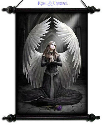 "Anne Stokes Wall Art Scroll: ""Prayer for the Fallen"" Kneeling Gothic Angel"