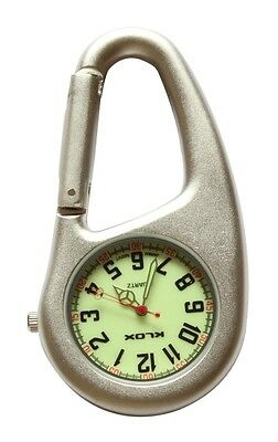 Silver Clip-on Carabiner FOB Watch Luminous Dial For Doctors Nurses Paramedics