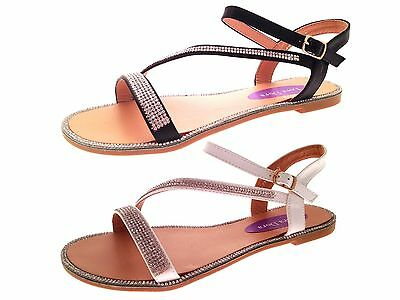 ac99a3a4b71a8 Womens Flat Diamante Summer Sandals Strappy Evening Shoes Ladies Girls Size  3-8
