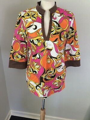 189d012bd95c9d Lilly Pulitzer Newbury Tunic Butterfly Stretch Cotton Pink Brown Orange EUC  Sz S