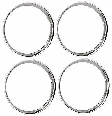 """15"""" Chrome Stainless Steel HOT ROD STYLE SMOOTH Beauty Rings TRIM RING SET Of 4"""