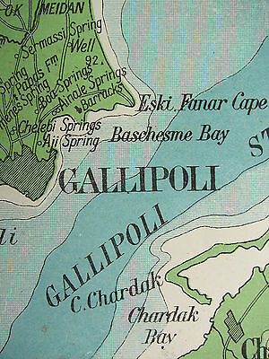 1919 Large Map ~ Gallipoli Peninsula & Dardanelles Physical Land Heights Chanak