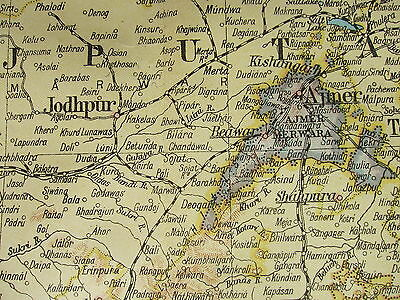 1919 Large Map ~ North West India With Afghanistan Punjab Baluchistan