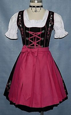 DIRNDL Trachten German Oktoberfest DRESS 3-Piece SHORT Sun Party Swing Waitress