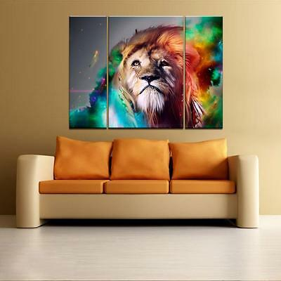 Large Colorful Big Lion Unframed HD Canvas Print Wall Art Picture Split Poster