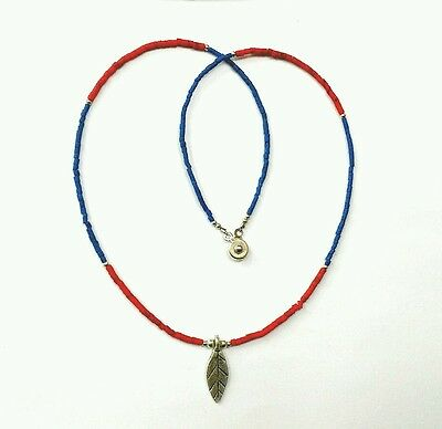 Afghan Natural Lapis Lazuli & Coral Tiny Seed Beads with Leaf Pendant Necklace