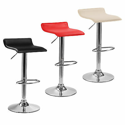 2x Oblate Chrome & Gas Lift Swivel Faux Leather Kitchen Breakfast Bar Stool