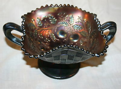 Northwood Glass Fruits And Flowers Carnival Glass Bonbo