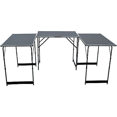Set of 3 Folding Trestle Tables Car Boot Market Stall Compact Portable Fete Fair