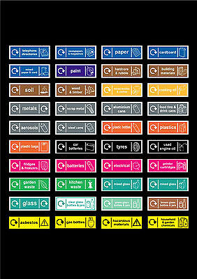 Choice Of Recycling / Wastage / Disposal Signs Or Stickers 150mm x 50mm