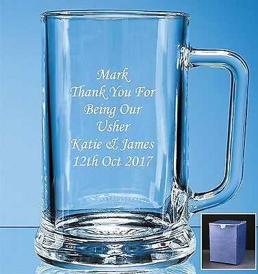Personalised Engraved Pint Beer Glass Tankard Wedding Best Man - Usher gift