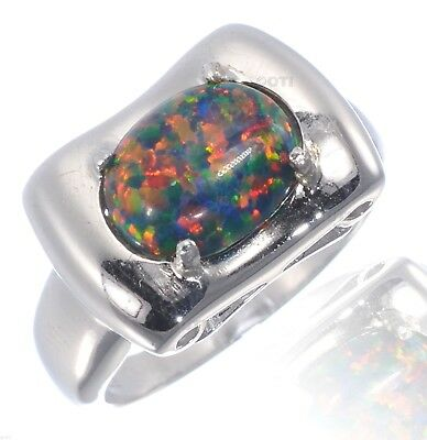 Large White Gold Finish Oval Engagement Black Fire Opal Sterling Silver Ring