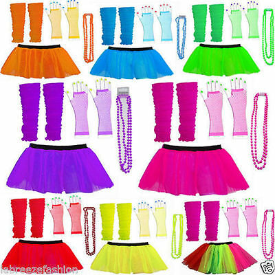 1980's Neon Uv Fancy Dress Hen Party Costume Tutu Gloves Leg Warmers Beads