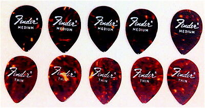 10 VINTAGE FENDER 358 GUITAR PICKS THIN & MEDIUM tortoise old celluloid NOS cool