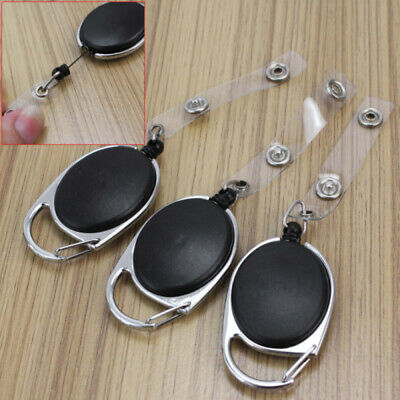 New 3 Pcs Carabiner Retractable Reel Badge Clip Lanyard ID Card Holder Black