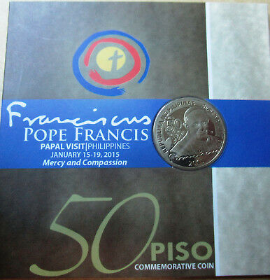 2015  50 piso Commemorative Coin Pope Francis Papal Visit Philippines w/ sleeve
