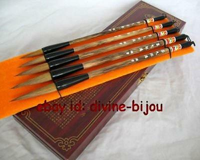 SUPER 5PCS CHINESE CALLIGRAPHY BRUSH PEN , WITH GOOD WOOD BOX