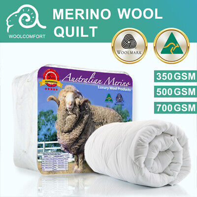 100% 700GSM Australian Wool Quilt Doona Duvet Blanket Winter Super King-All Size