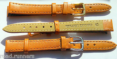 MATT TAN Genuine Real Leather Watch Strap Band Size 8-20mm Ladies NEW
