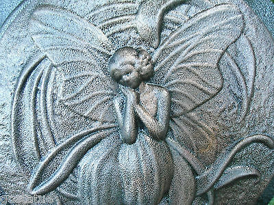 """Fairy plastic stepping stone mold plaster concrete resin mould 10"""" x 1"""" thick"""