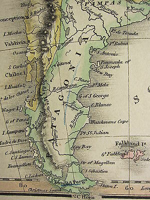 1813 Dated Antique Map ~ South America Patagonia Paraguay Amazons Guiana Brazil