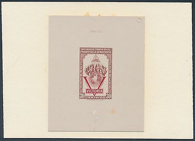 Nicaragua #690P Die Proof On India Sunk On Card With Control No. Bs3496