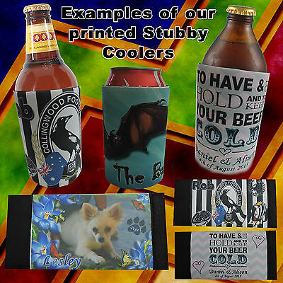 Personalised Photo Stubby Cooler - Velcro - Fits Bottles or Cans  - Gift Idea