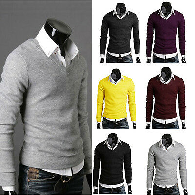 Stylish Men Casual Slim Fit V-neck Knitted Cardigan Pullover Jumper Sweater Tops