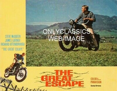 1963 Cool Steve Mcqueen Motorcycle The Great Escape Movie Poster Mountain Jump