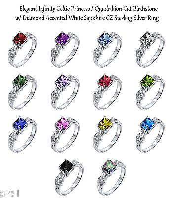 Infinity Celtic Princess Cut Birthstone w/ Sapphire Genuine Sterling Silver Ring