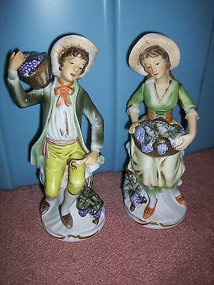 Vintage Homco Boy & Girl Gathering Grapes Figures French Provencial