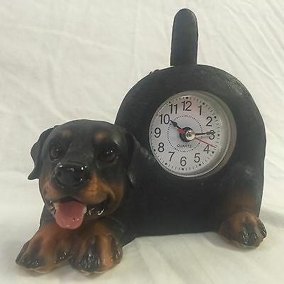 VALENTINE'S DAY SALE Critter Clock Rottweiler Tabletop Wagging Tail Puppy Dog