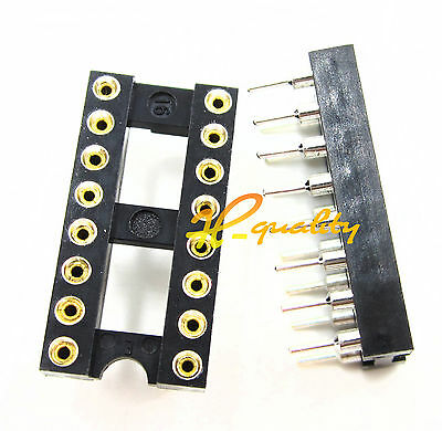 10pcs 16Pin DIP SIP Round IC Sockets Adaptor Solder Type gold plated machined