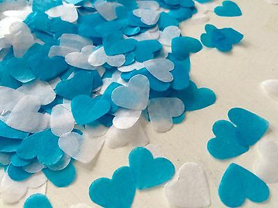 turquoise & white heart wedding confetti-party table decorations - biodegradable