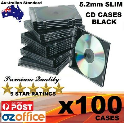 BRAND NEW PREMIUM 100 x Slim CD Cases BLACK Single Tray Slimline CD Jewel Case