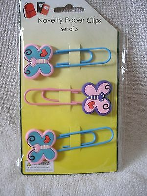 Set Of  3 Butterfly Paper Clip Bookmarks