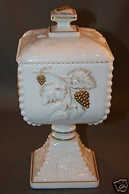 Westmoreland Glass Beaded Grape Leaf 22K Gold Bowl Lid White Milk Glass Candy Di