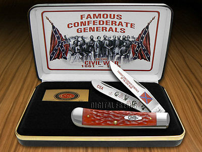 CASE XX Confederate Generals Red Bone Trapper 1/2500 Stainless Pocket Knife